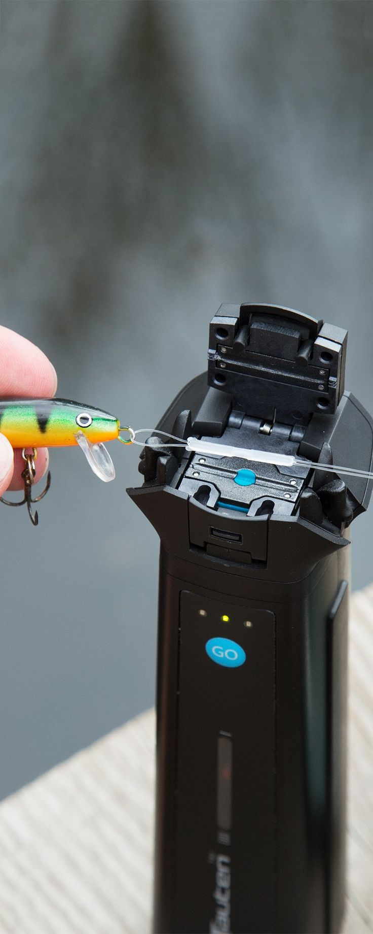 "This fishing line welder gets rid of knot-tying altogether. Run the line through your hook or lure, load the lines into the welder, and press ""GO"" to get a smooth, reliable bond in 30 seconds. It's easier and stronger than tying knots, so you can focus on landing the perfect catch."