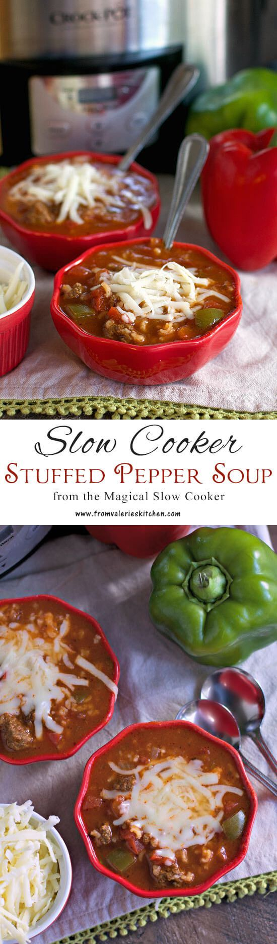 All the classic flavors of stuffed peppers cooked together in a hearty, wholesome slow cooker soup!