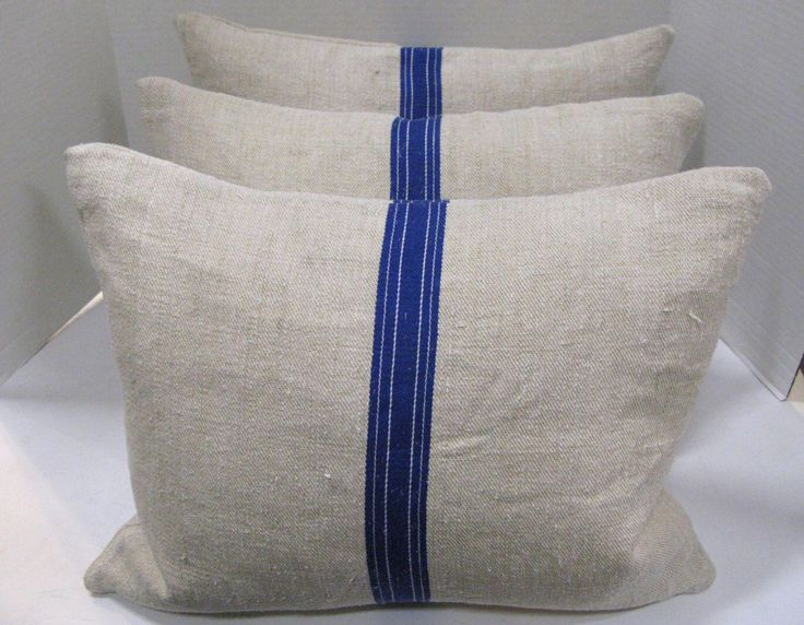 Vintage Linnen Grain Sack Pillows & Blue Stripe - Set of 3 on Chairish.com