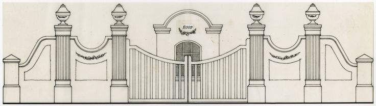 Drawing of the proposed gateway entrance to Vergelegen, Somerset West. From the Ian Ford Archive. Undertaken over a period of 30 approximately years, this archive demonstrates excellence in Landscape Architectural Practice.