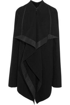 Rick Owens Draped satin-trimmed wool-blend coat | NET-A-PORTER