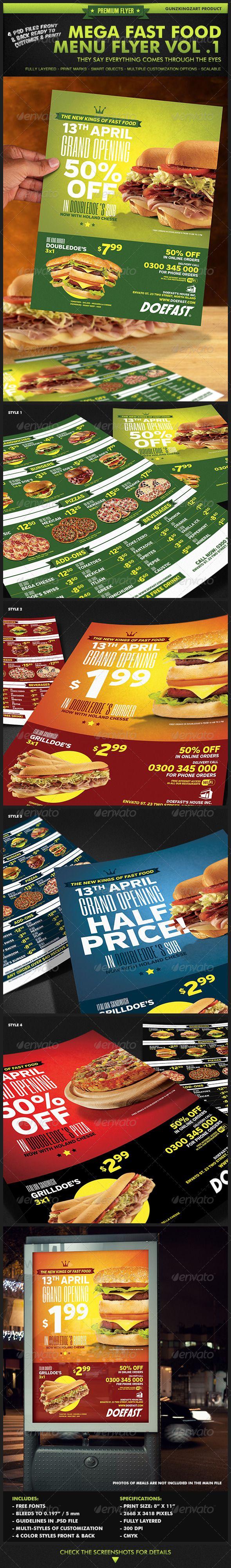 Mega Fast Food Menu Flyer Vol. 1