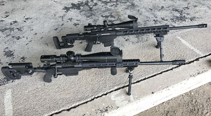 Tikka bottom and the Ruger Precision Rifle (Gen 2) top. Vortex scopes on both. Notice the compensators.