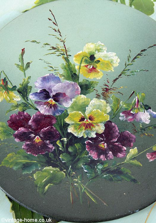 Vintage Home Shop - Beautiful Victorian Pansies Painting on Tin: www.vintage-home.co.uk