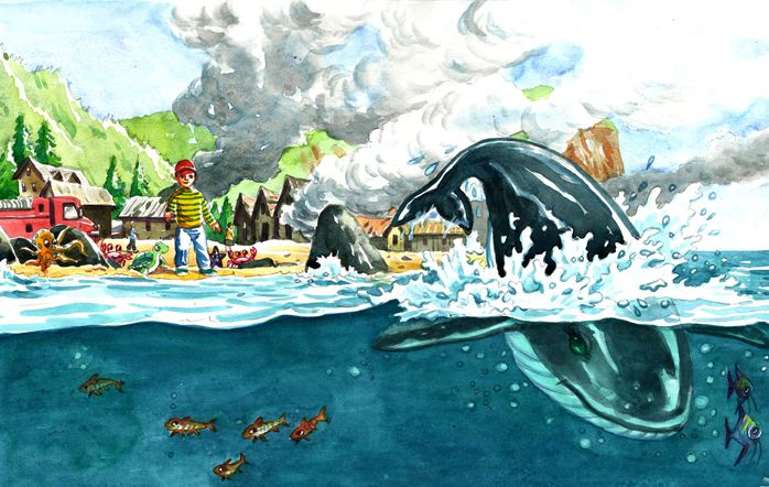 This style of illustration is a classic water color illustration. the characters are semi realistic or whimsical and the colors are very soft yet very clear. the characters, both human as well as the whale are having very clear features and expressions. The background includes clouds, smoke, mountains and the sky which are also colored as per their natural colors. There are small fishes inside the water and its an altogether different worlds and outside its a different world.