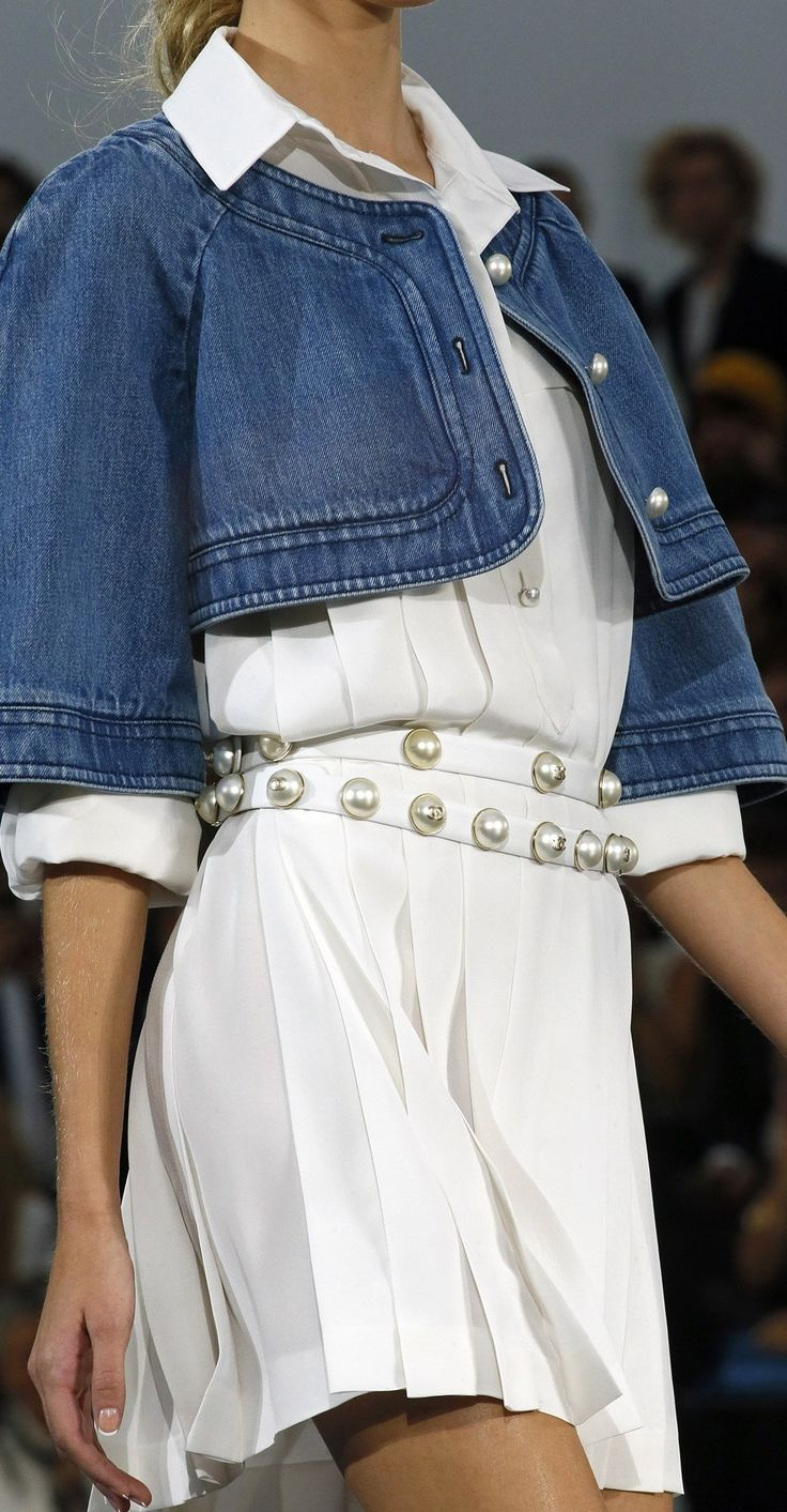 Chanel-so Great juxtaposition of denim and pearl trim!