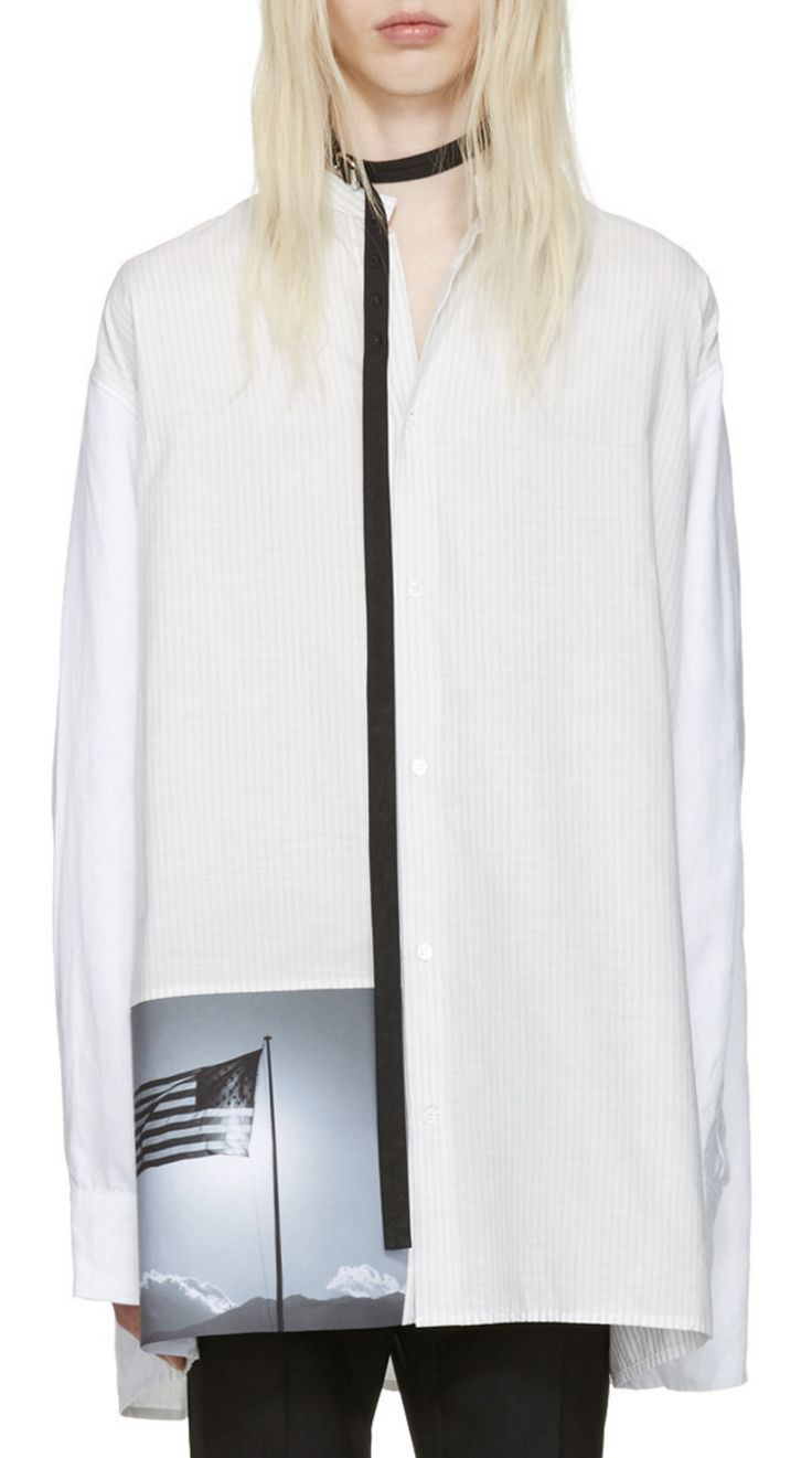 Raf Simons White Robert Mapplethorpe Edition Oversized Neck Strap American Flag Shirt  from SSENSE (men, style, fashion, clothing, shopping, recommendations, stylish, menswear, male, streetstyle, inspo, outfit, fall, winter, spring, summer, personal)