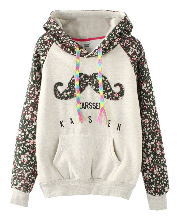 Floral Print Mustache Drawstring Hoodie. I want so bad!!!