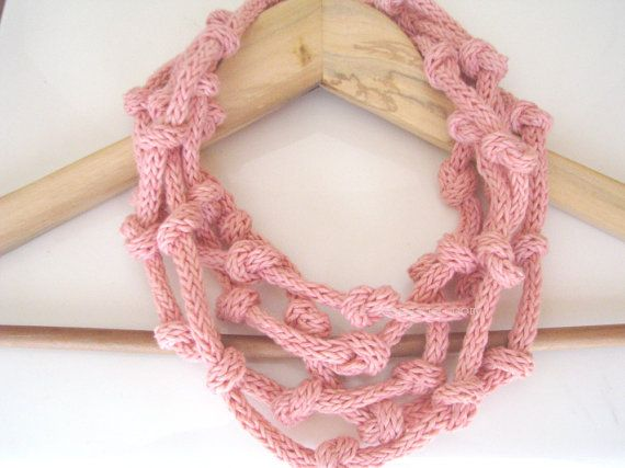 Coral eco knitted necklace  organic cotton necklace  by tricotaria, $34.00