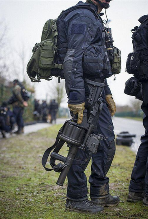 GIGN operators prior to storming the printing factory housing the Charlie Hebdo-shooters.