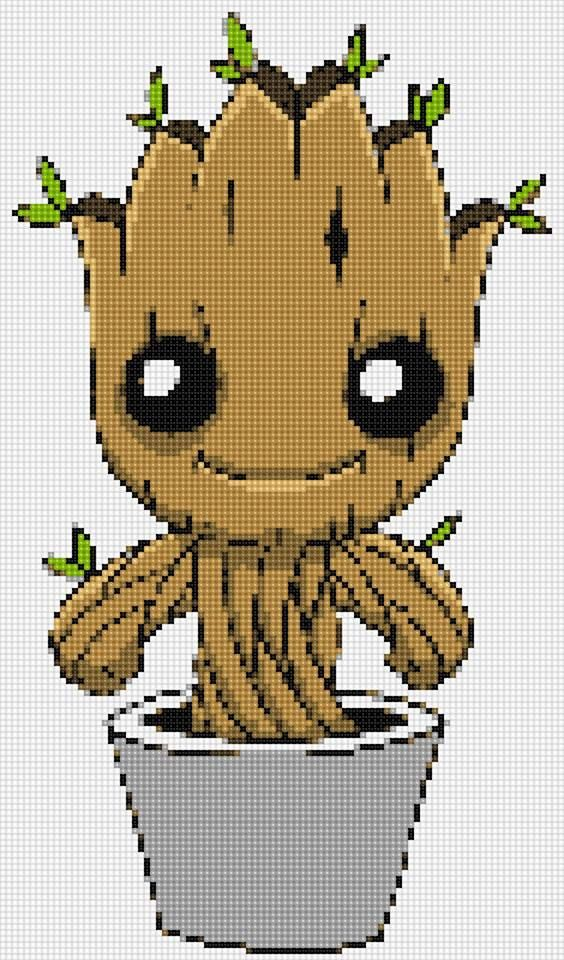549f15ba8 Baby Groot Ultimate Chibi cross stitch and plastic canvas | Needle ...