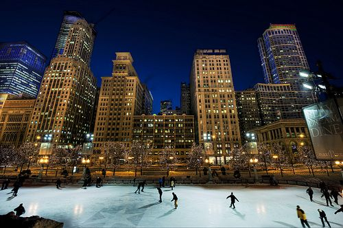 Ice Skating in MIllenium Park. REALLY REALLY want to do this. lived in chicago my whole life and never not the chance =(