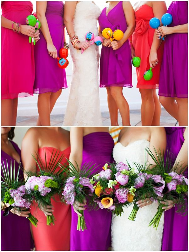Gorgeous Mexican themed wedding -- Wedding party holding Maracas. We adore the BRIGHT colors incorporated in this wedding. \\ Photo Credit: Limelight Photography \\ Courtesy via Aisle Ready #cincodemayo #spanishwedding