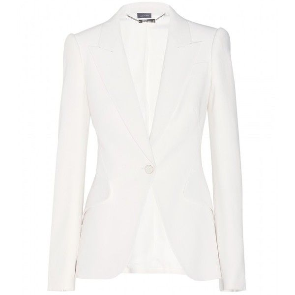 Alexander McQueen Crepe Blazer ($2,085) ❤ liked on Polyvore featuring outerwear, jackets, blazers, white, white blazer, crepe blazer, alexander mcqueen, white blazer jacket and blazer jacket