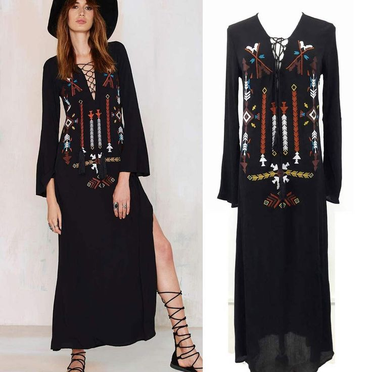 boho dress 2016 Women Bohemian Long Dress Sexy Deep V-Neck Black Hippie Embroidery Dresses With Slit Hippie Boho People clothing  Shop the latest Boho looks with a modern update! Lulus is ahead-of-the-trends with Boho-chic dresses, separates, jewelry, and shoes!