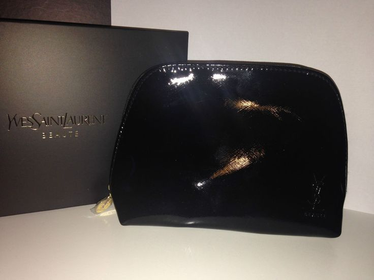 Yves Saint Laurent YSL Beaute Glossy Black Make Up Clutch Bag ...