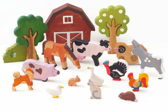 Farm animals toy set (13pcs) Wooden Barnyard animal toys Miniature farm animals toys