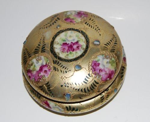 Gold Moriage Nippon Hand Painted Rose Trinket Powder Box Jar Japan Maple Leaf M
