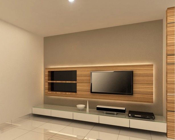 Furniture,Luxury Wall Mount Maple Wood Modern TV Console Design With Wall  Mount Black Flat TV And White Ceramic Tile Floor For Women Bedroom Decor,u2026