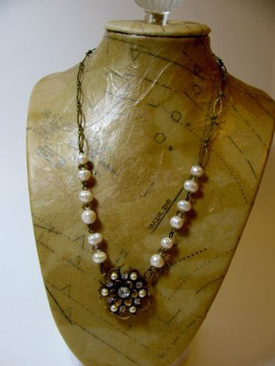 Vintage Style Jewelry Stand Tutorial from Debbie Saenz of A Creative Life, pinned with permission