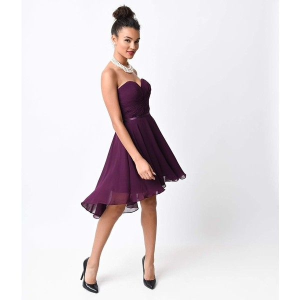 Eggplant Chiffon Strapless Sweetheart Corset Short Dress ($25) ❤ liked on Polyvore featuring dresses, purple, plus size white corset, plus size prom dresses, white cocktail dress, plus size formal dresses and short white dresses