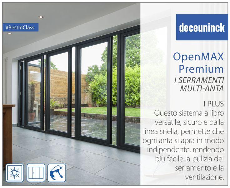 I plus di OpenMAX Premium 1: Versatile e sicuro. OpenMAX Premium è un sistema a libro estremamente dalla linea snella e dalla struttura minimal. Il suo esclusivo sistema permette che ogni anta si apra indipendentemente, rendendo più facile la pulizia del serramento e la ventilazione.  #Deceuninck #plus #OpenMAX #sistema #scorrevole #portafinestra #finestra #apertura #pvc #BestInClass