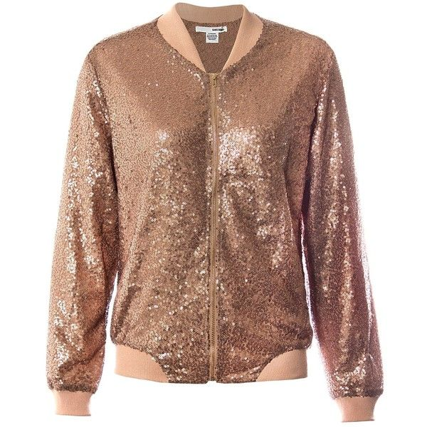Sans Souci Rose gold sequin bomber jacket (£52) ❤ liked on Polyvore featuring outerwear, jackets, rose gold, brown bomber jacket, sequin bomber jacket, zip bomber jacket, bomber style jacket and flight jacket