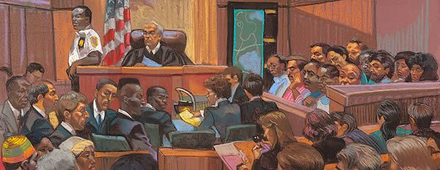 Drawing of courtroom scene from the Central Park Five trial. Central park five movie