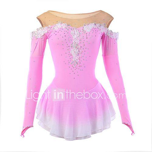Ice Skating Dress Women's Long Sleeve Skating Dresses High Elasticity Figure Skating Dress Breathable / Wearable Flower(s) / LaceSpandex 2017 - €58.79
