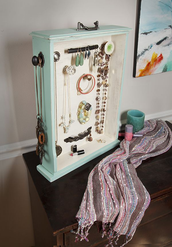Perfect way to use up old cabinetry hardware. A vertical drawer is just so sensible. DIY Jewelry Organizer Made from a Salvaged Drawer