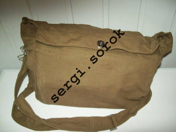 Russian soviet Gas mask Bag Big Indiana Jones G-PMK with big tapes for beach, travel. fotos, cameras, metro, any self things GP-4/ GP-5/ GP-7/ PMK/PMG in original, it is storage a many years in military warehouse.     But it's never used.      The Soviet gas mask bag PMK are designed to protect from nuclear, biological and chemical (NBC) agents.    This gas mask is designed for extended use and is NOT a one-time throw away. The functionality is same and independent from colour of main…