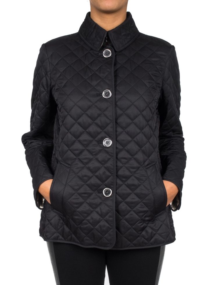 BURBERRY - Giacca leggera trapuntata con colletto - Nero - Elsa-boutique.it #Burberry <3