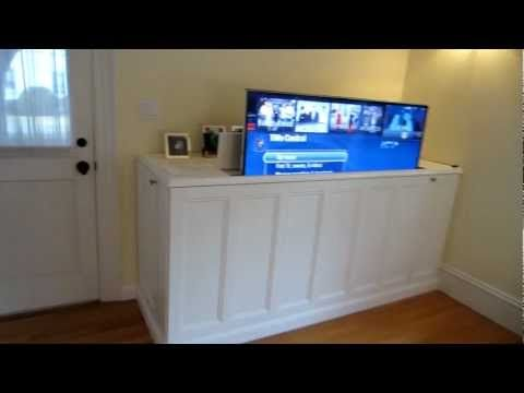 DIY home theater lift cabinet. I want to do this on the end of our bed.