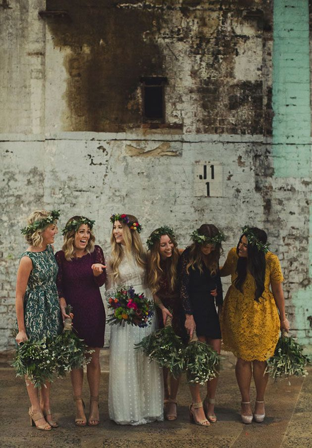 beautiful mismatched bridesmaids