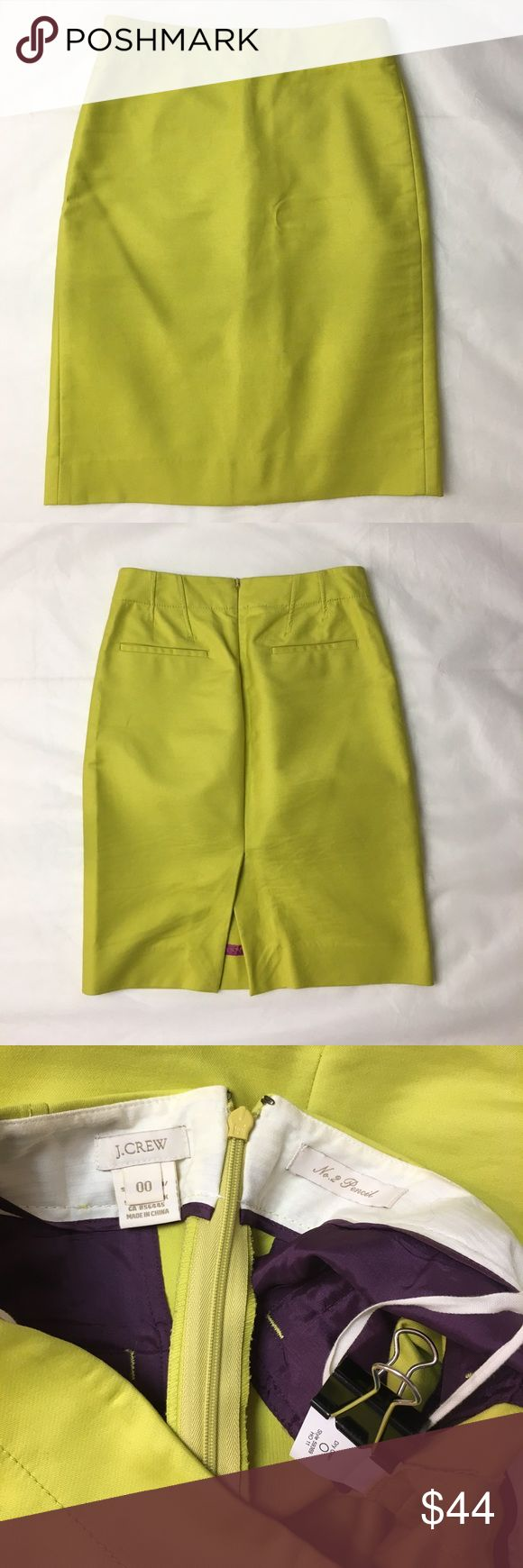 "J CREW Pencil Skirt In Double-Serge Cotton 00 Excellent condition! A true design icon that we've meticulously shaped and seamed to figure-flattering perfection (always sharp and to the point, consider the No. 2 pencil your wardrobe's most noteworthy addition). Crafted from our crisply structured double-serge cotton that's comfy three seasons a year in a collect-them-all spectrum of bold brights. Double-serge cotton with a hint of stretch. Sits at waist. Back zip. Back welt pockets. 22"" long…"