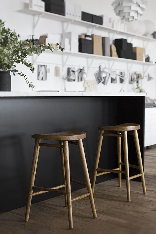 Scandinavian living / industrial studio / bar stools