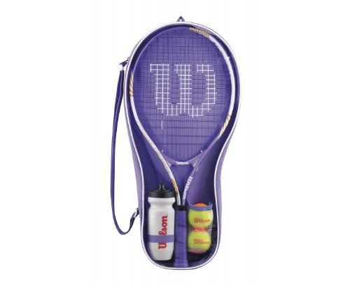 """WILSON Venus & Serena Starter Set by Wilson. $59.48. Everyone has to start somewhere. With the Venus and Serena starter kit, future tennis stars get everything they need to get out there and play, developing their winning mentality and passion for the game.A lightweight 25"""" titanium racket, Stage 2 Transitional tennis balls and a sports water bottle are all the ingredients you need to get out there and play.Racket Specification:*Headsize: 106in sq.*Strung weight: 220g*String pat..."""