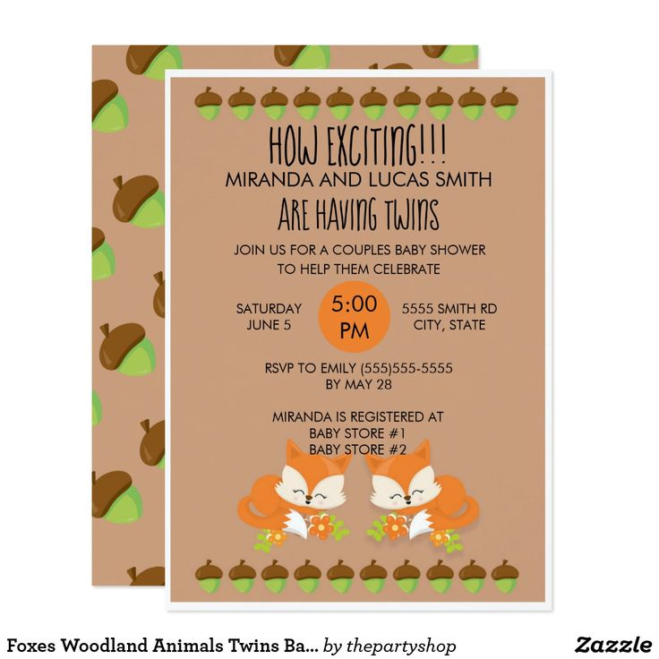 Foxes Woodland Animals Twins Baby Shower Invite