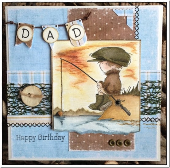 Gone Fishing - Lou, Lili of the Valley stamp