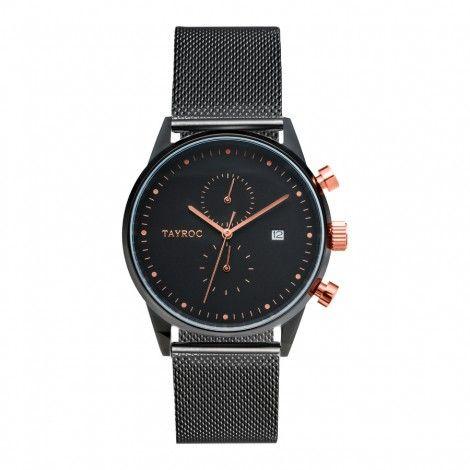 Koop dit Tayroc Boundless Black Rose Gold horloge TXM098 horloge online in onze webwinkel.                     Dit is een heren horloge met een quartz uurwerk.                             De kleur van de kast is zwart en de kleur van het uurwerk is zwart.                             De kast is gemaakt van rvs en de band van het horloge van rvs.                             Het uurwerk is analoog en er wordt gebruik gemaakt van mineraalglas.                                       ...