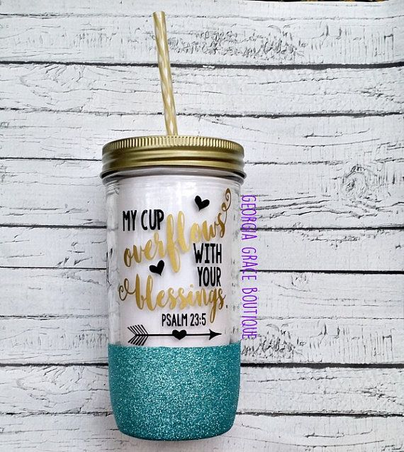 Scripture Glitter Mason Jar Tumbler by GeorgiaGraceBoutique