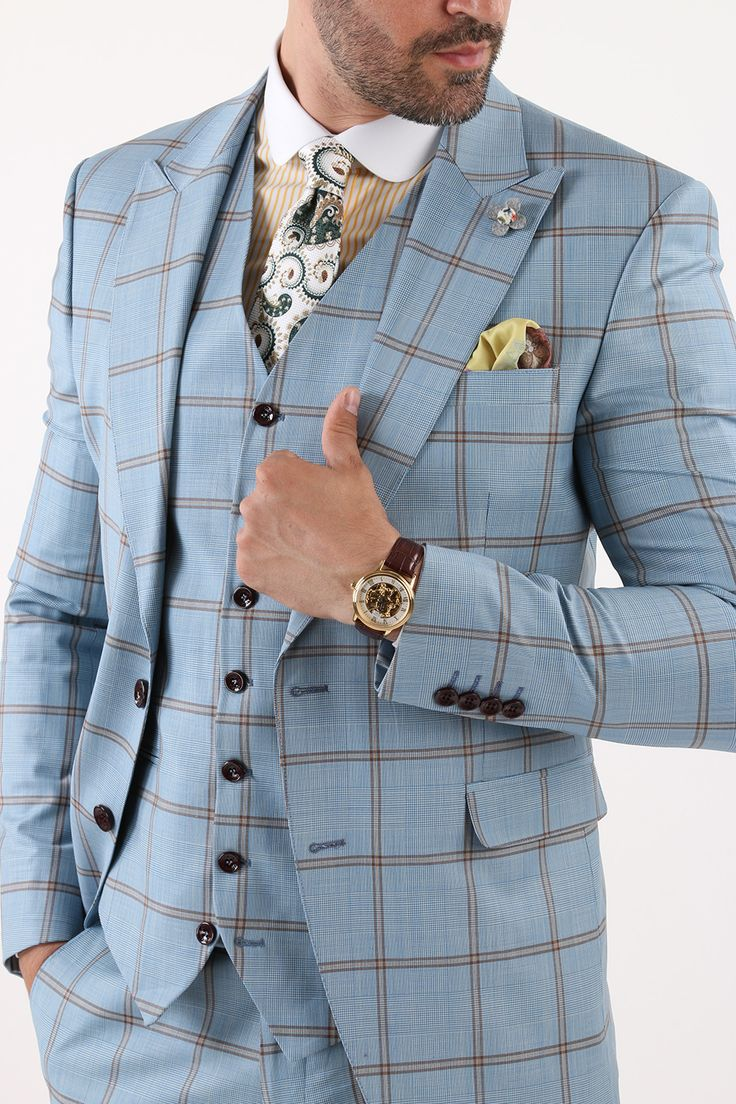 Costum Office Bleu cu Carouri – BMan124  costume barbati