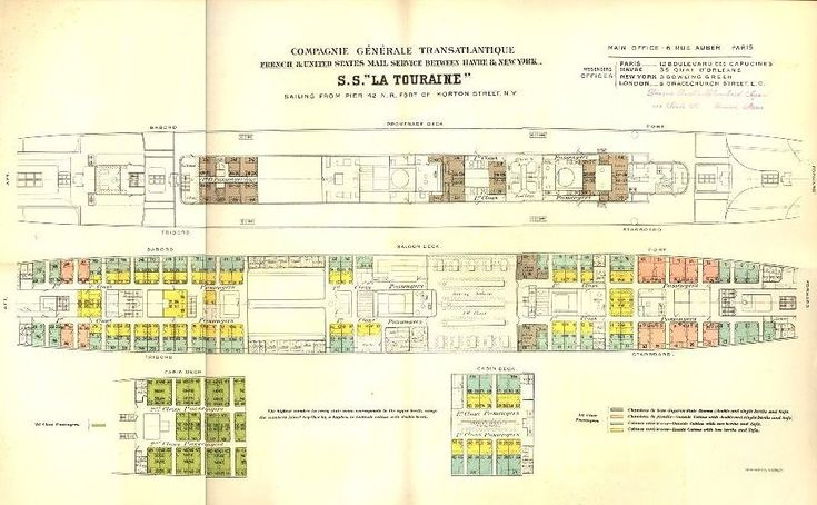 A Deck Plan Of  U0026 39 La Touraine U0026 39  Dating From C  1900  See Text