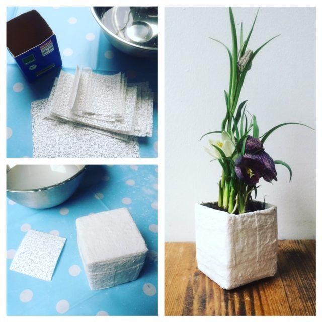 Anleitung: Verarbeitung von Gipsbinden -- Tetrapack Pflanzgefäß