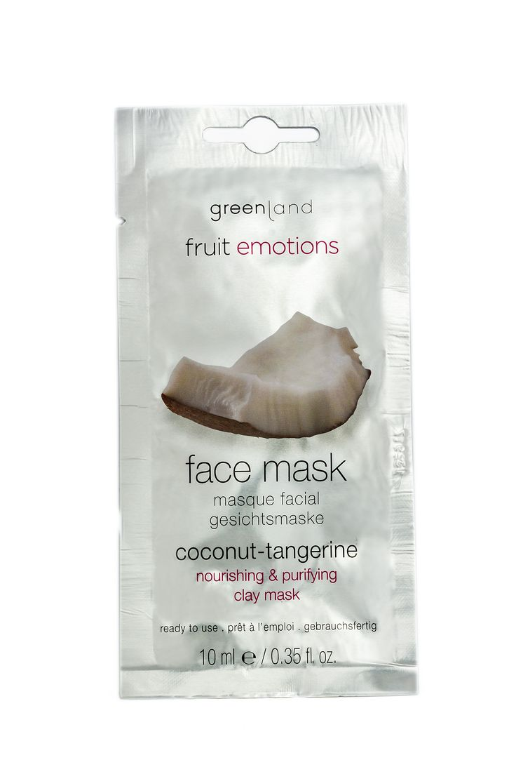 Coconut ‐ Tangerine. Clay mask. The facemask is based on white clay and deeply cleanses and nourishes the skin. This mask purifies and nourishes the skin thanks to the unique characteristics of the clay. After usage the skin will feel soft and supple again. Skin types: for all skin types