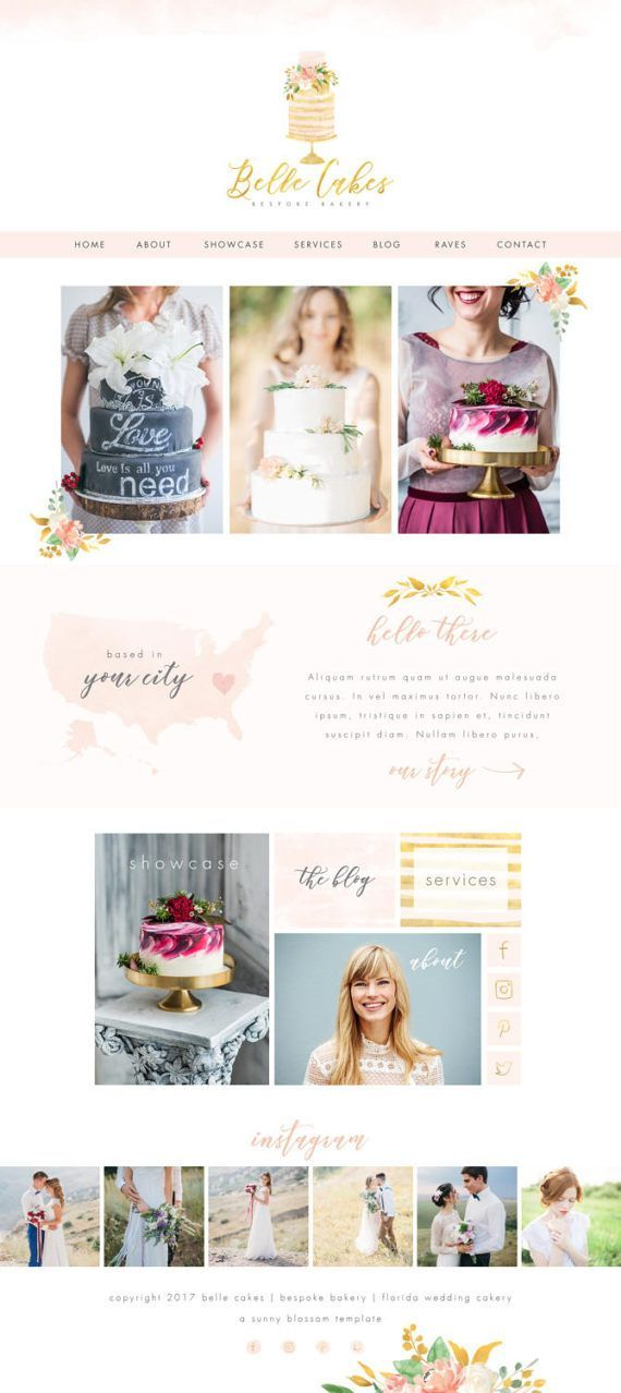 Wix Website Template Website Design Bakery By Sunnyblossomdesigns Wix Website Templates Wix Website Wix Templates