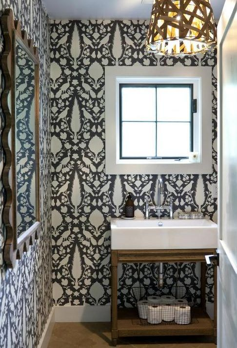 Funky contrasting #dark and light wallpaper in the #powder room