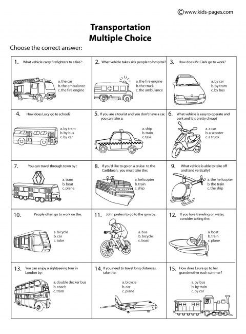 transportation multiple choice b w worksheet transportation theme worksheets. Black Bedroom Furniture Sets. Home Design Ideas