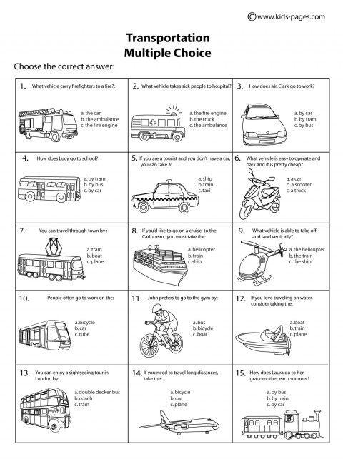 Transportation Multiple Choice B Amp W Worksheet