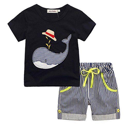 Ensembles Shorts et Haut Garçon Bonjouree T-shirt Et Pantalons Courts à Rayures Pour Enfants Garçon 1-6 Ans (5-6 Ans Noir)